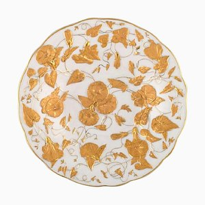 Large Meissen Bowl in Porcelain with Gold Decoration