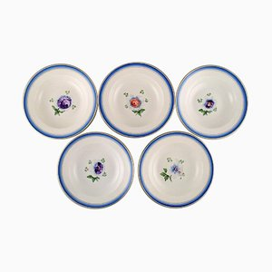 Antique Royal Copenhagen Deep Plates in Hand-Painted Porcelain, Set of 5