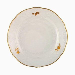 Large Round Meissen Porcelain Dish with Flowers and Foliage in Relief