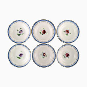 Antique Royal Copenhagen Deep Plates in Hand-Painted Porcelain, Set of 6