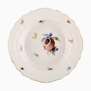 Antique Meissen Deep Plate in Hand-Painted Porcelain with Peach and Flowers