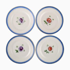 Antique Royal Copenhagen Plates in Hand-Painted Porcelain, Set of 4