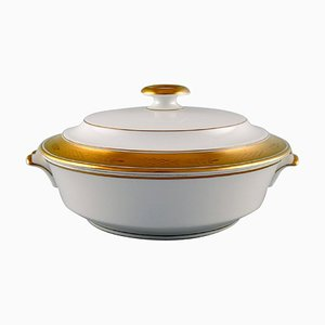White Porcelain Dagmar Lidded Tureen with Gold Edge from Royal Copenhagen, 1959