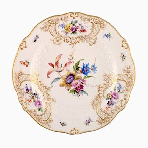 Meissen Plate in Hand-Painted Porcelain with Flowers and Foliage in Relief