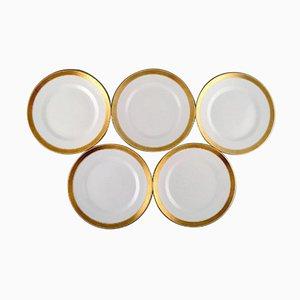 Weiße Dagmar Teller aus Porzellan mit Goldrand von Royal Copenhagen, 5er Set