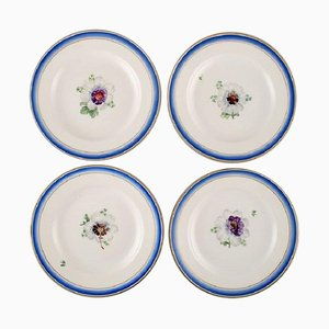 Antique Royal Copenhagen Plates in Hand-Painted Porcelain with Flowers, Set of 4