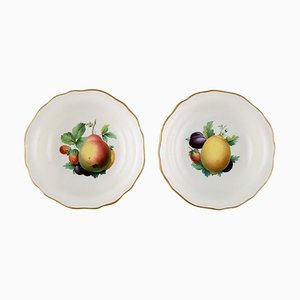 Scodelle Meissen in porcellana dipinta a mano con motivi floreali e bordo dorato, set di 2