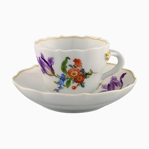 Antique Meissen Coffee Cup with Saucer in Hand-Painted Porcelain, Set of 2