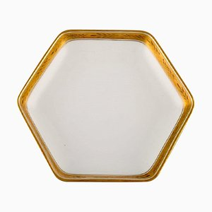 White Angular Porcelain Dagmar Dish with Gold Edge from Royal Copenhagen, 1960s