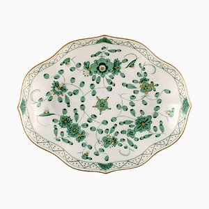 Indian Green Bowl in Hand-Painted Porcelain with Green Floral Motifs from Meissen