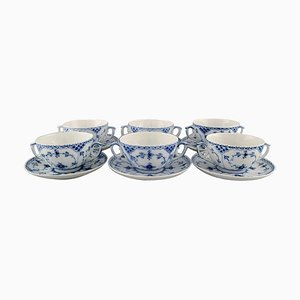 Royal Copenhagen Blue Fluted Half Lace Bouillon Cups with Saucers, Set of 12