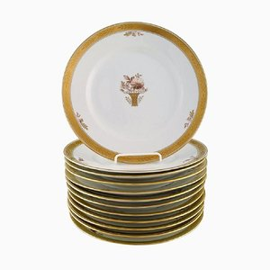 Royal Copenhagen Golden Basket Dinner Plates with Gold Edge, Set of 12