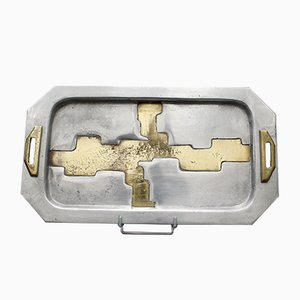 Aluminium and Brass Serving Tray in the Style of David Marshall, 1970s