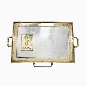Aluminium and Brass Serving Tray by David Marshall for Domecq Sherry, 1970s
