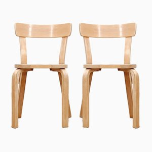 Mid-Century Modern Scandinavian Model 69 Chairs by Alvar Aalto for Artek, Set of 2