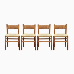 Oak & Rush Dining Chairs by Johan van Heuvel for Ad Vorm, 1960s, Set of 2
