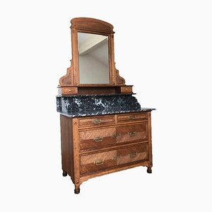 Mirror Commode in Wood with Marble Top