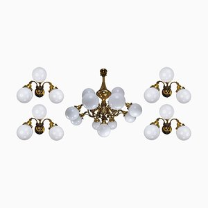 Monumental Brass Chandelier & Wall Lights with Opaline Glass Globes, 1920s, Set of 5