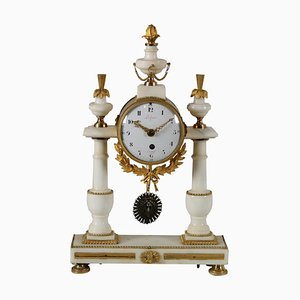 French Marble & Gilded Bronze Table Clock from Léchopié à Paris, 1700s