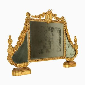 Late-18th Century Italian Neoclassical Overmantle Mirror in Gilded Wood