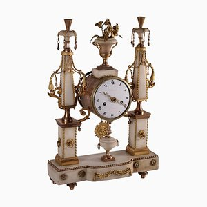 18th Century French Gilded Bronze and White Marble Table Clock