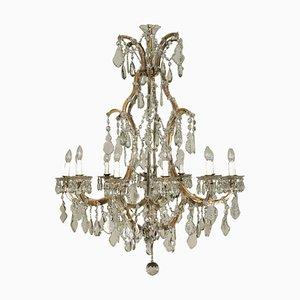 Lampadario Maria Theresa antico in cristallo e ferro