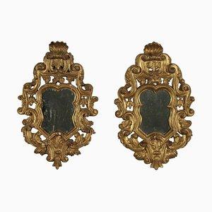 Antique Italian Baroque Gilded Wood Mirrors, Set of 2