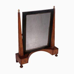 Small 19th Century Empire Style Walnut Cheval Mirror