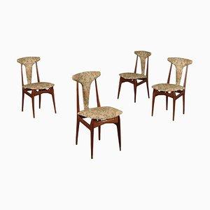Italian Mahogany, Foam & Fabric Chairs, 1950s, Set of 4