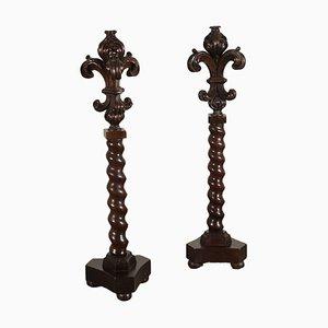 18th Century Italian Carved Columns in Walnut, Set of 2