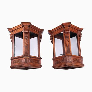 17th Century Italian Lombard Lanterns in Walnut and Glass, Set of 2