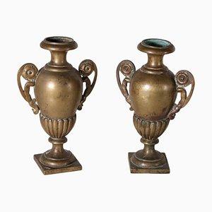 Vases 19ème Siècle avec Poignées en Bronze Doré, Italie, Set de 2