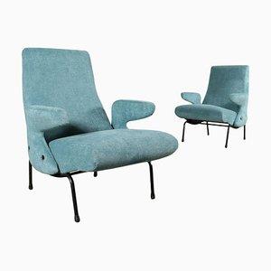 Foam, Fabric & Metallic Enamelled Armchairs by E. Carboni for Arflex, Set of 2