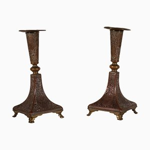 19th Century Bronze Candleholders, Set of 2
