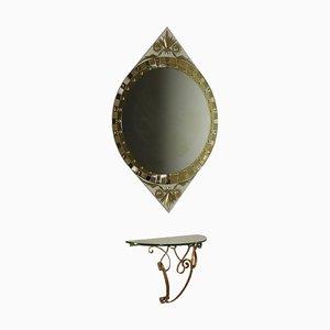 Consolle con specchio in metallo dorato e cristallo, Italia, anni '50, set di 2