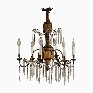 18th Century Italian Neoclassical Chandelier in Carved Wood and Wrought Iron