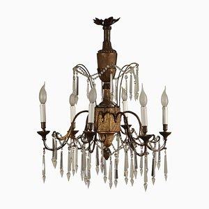 Lampadario neoclassico in legno intagliato, Italia, XVIII secolo