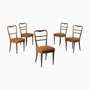 Beech, Foam & Leatherette Chairs, 1950s, Set of 5
