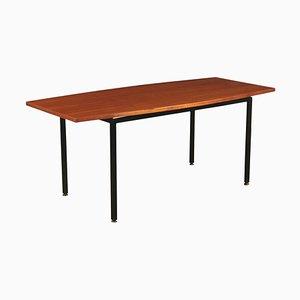 Tavolino impiallacciato in teak, metallo e ottone, Italia, anni '60