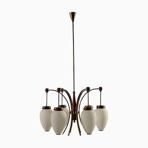 Italian Brass, Enamelled Aluminum & Opaline Glass Ceiling Lamp, 1950s