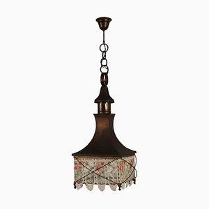 Lampadario vintage in ottone con lanterna in vetro, Italia