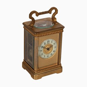 French Gilded Bronze Travel Clock