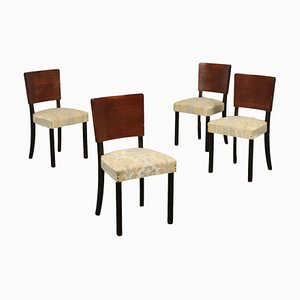 Italian Stained and Veneered Rosewood, Springs & Fabric Chairs, 1940s, Set of 4