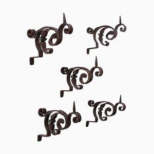 Portacandele vintage in ferro battuto, Italia, set di 5