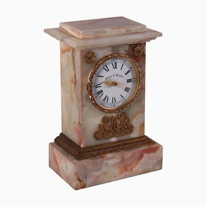 Vintage Italian Onyx Clock by Roberto Fortilier