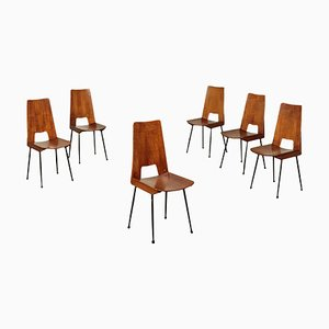 Italian Plywood and Metallic Enamelled Chairs, 1960s, Set of 6
