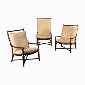 Italian Bamboo, Foam & Fabric Armchairs, 1980s, Set of 3
