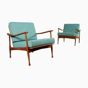 Stained Beech, Foam & Fabric Armchairs, 1960s, Set of 2