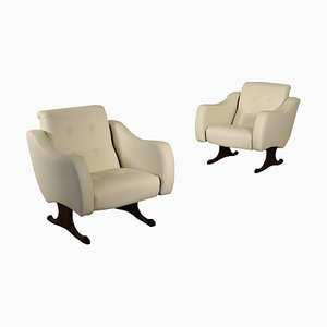 Rosewood, Foam, Brass & Leatherette Armchairs, Italy, 1960s, Set of 2