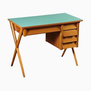 Italian Beech Veneered, Solid Wood & Formica Writing Desk, 1950s